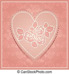 cor-de-rosa, renda, em, forma coração