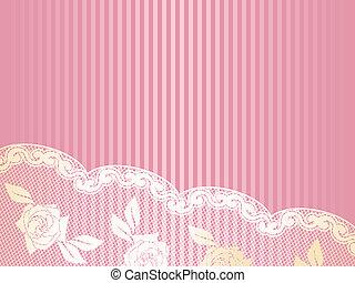 cor-de-rosa, renda, ouro, francês, fundo, horizontais