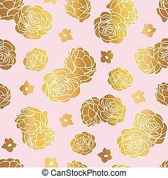 cor-de-rosa, repetir, jardim, ouro, rosa, seamless, vetorial, padrão