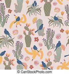 cor-de-rosa, repetir, padrão, seamless, vetorial, florescer, cacto, deserto