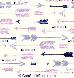 cor-de-rosa, repetir, roxo, padrão, tribal, setas, desenho