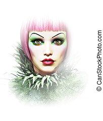cor-de-rosa, retrato