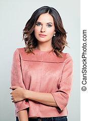 cor-de-rosa, retrato, mulher, roupas, jovem