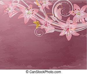 cor-de-rosa, retro, fantasia, flores