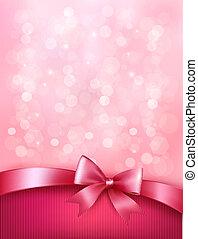 cor-de-rosa, ribbon., arco presente, elegante, vetorial, fundo, feriado