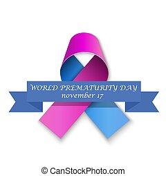 cor-de-rosa, ribbon., azul, dia