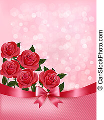 cor-de-rosa, ribbon., feriado, illustration., buquet, arco, vetorial, fundo, flores