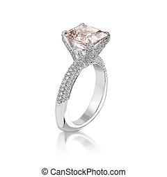 cor-de-rosa, ring., diamante