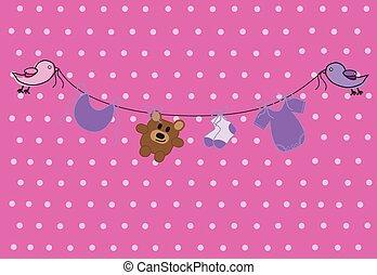 cor-de-rosa, roupas bebê, linha