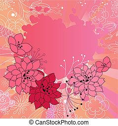 cor-de-rosa, são, valentine, quadro, com, stylized, contorno, flores