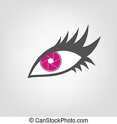 cor-de-rosa, símbolo, olho, ícone