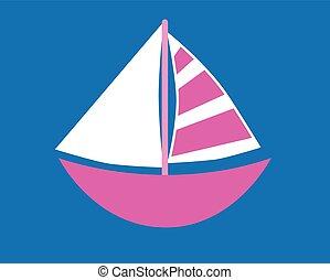 cor-de-rosa, sailboat, experiência azul