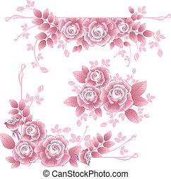 cor-de-rosa, sedoso, elementos, desenho, rosas
