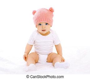 cor-de-rosa, sentando, doce, tricotado, bebê, retrato, chapéu