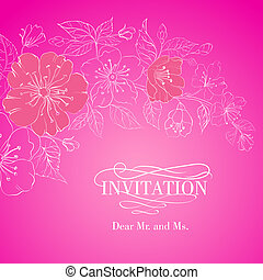 cor-de-rosa, sepia., sobre, isolado, sakura, flores