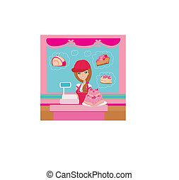 cor-de-rosa, servindo, saleswoman, -, grande, panificadora, bolo, loja