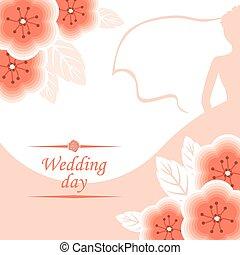cor-de-rosa, silueta, buquet, noiva, decorado, flores, sacudir, cartão