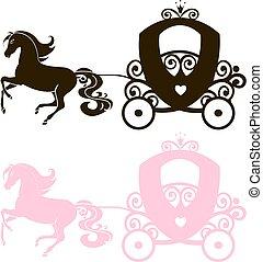 cor-de-rosa, silueta, menina, vindima, real, fabuloso, princesa, carruagem, vetorial, experiência preta, carrinho criança, horse-drawn, branca, logotipo, ícone