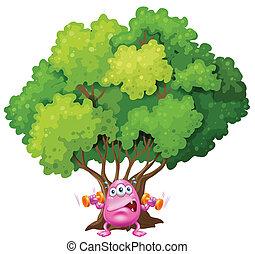 cor-de-rosa, sob, árvore, monstro, exercitar