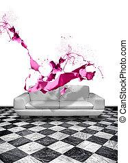cor-de-rosa, sofá couro, respingo tinta, branca