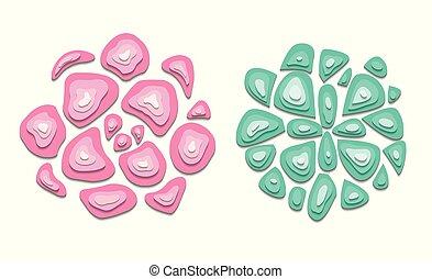 cor-de-rosa, succulents, turquesa, jogo, topo, corte, separado, experiência., cores, objetos, papel, vista., saída, delicado