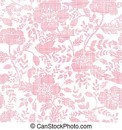 cor-de-rosa, têxtil, pássaros, e, flores, seamless, padrão,...