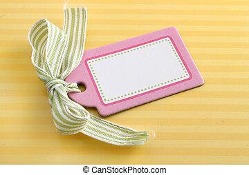 cor-de-rosa, tag, amarela, em branco
