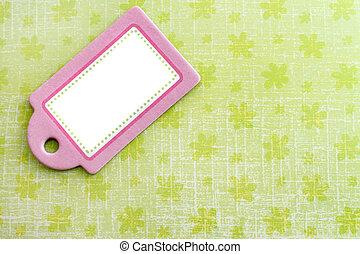 cor-de-rosa, tag, verde, em branco