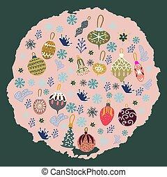 cor-de-rosa, textured, árvore, experiência., brinquedos, círculo, borda, natal