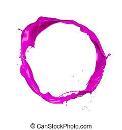 cor-de-rosa, tiro, isolado, respingo tinta, fundo, branca