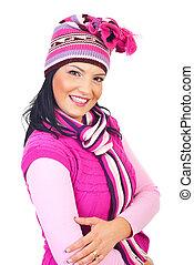 cor-de-rosa, toothy, mulher, tricotado, sorrizo, roupas