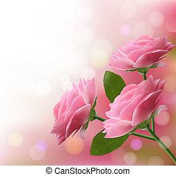 cor-de-rosa, três, ilustração, flowers., vetorial, fundo, feriado