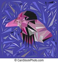 cor-de-rosa, triangles., disperso, formulou, pássaro mar