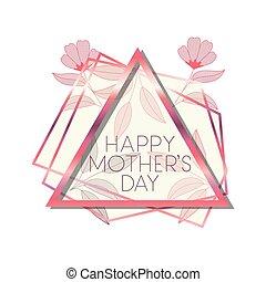 cor-de-rosa, triangulo, mãe, quadro, dia, feliz