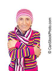 cor-de-rosa, tricotado, mulher sênior, roupas