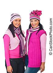 cor-de-rosa, tricotado, roupas, atraente, mulheres