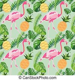 cor-de-rosa, tropicais, abacaxis, padrão, folhas, seamless, flamingos, palma, trendy