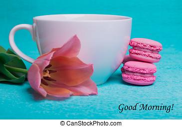 cor-de-rosa, tulipa, bom, tag, manhã
