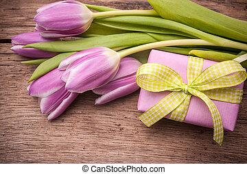 cor-de-rosa, tulips, caixa, presente