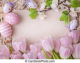 cor-de-rosa, tulips, e, em branco, nota