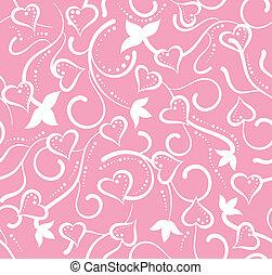 cor-de-rosa, valentine, seamless, floral, corações, dia
