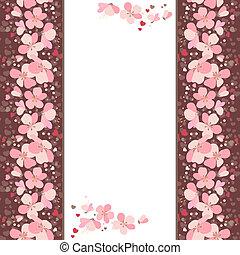 cor-de-rosa, vertical, cereja, quadro, flores brancas