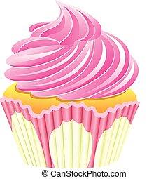 cor-de-rosa, vetorial, cupcake