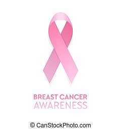 cor-de-rosa, vetorial, eps10, bandeira, câncer, ilustração, cartaz, peito, isolado, símbolo., convite, realístico, fundo, desenho, consciência, modelo, closeup, branca, etc., fita, estoque