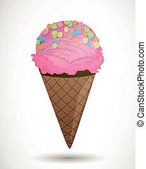 cor-de-rosa, vetorial, sorvete