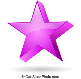 cor-de-rosa, vidro, estrela