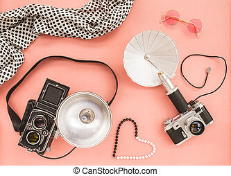 cor-de-rosa, vindima, cameras, fundo, foto