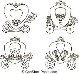 cor-de-rosa, vindima, fairytale, carruagem, real, silueta, princesa, vetorial, fundo, online, branca, loja, menina, logotipo, ícone