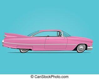 cor-de-rosa, vindima, ilustração, vetorial, carro., denominado, caricatura