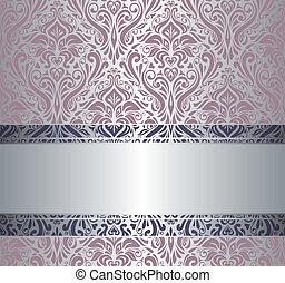 cor-de-rosa, vindima, papel parede, prata, &